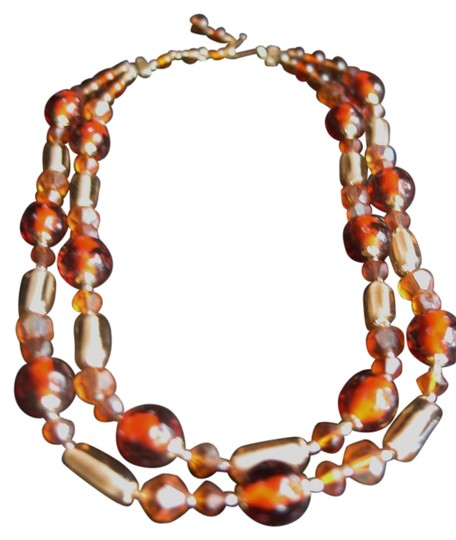 Hand Beaded Necklace: Shades of Topaz - Multi Color - Double Strand -18