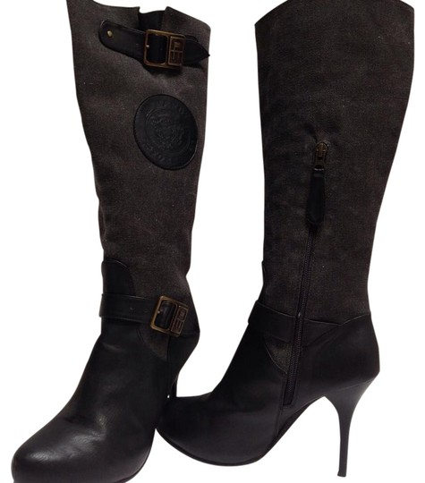 Preload https://item4.tradesy.com/images/ed-hardy-black-leathercharcoal-canvas-bootsbooties-size-us-7-regular-m-b-10263403-0-3.jpg?width=440&height=440