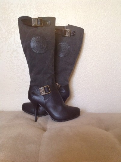 Ed Hardy Black Leather/Charcoal Canvas Boots