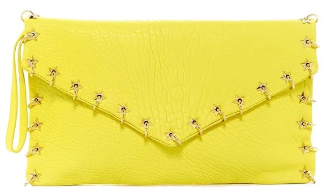 Item - New 'frankie' Oversized Gold Stars and Rings Wristlet Strap Acid Yellow Leather Clutch