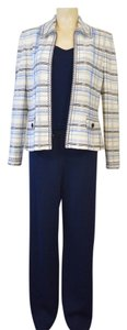 St. John ST. JOHN WOMEN'S WHITE/NAVY BLUE 3 PC PANT SUIT SIZE M ON SALE NH