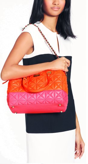 Kate Spade New York Sedgewick Place Kensey Quilted Leather Satchel in Flame / Bougainvillea