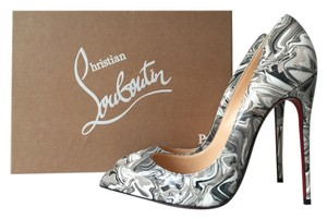 Christian Louboutin Marble Marbled Grey White Patent Leather Pigalle Follies 120 120mm So Kate 100 100mm Black Pumps