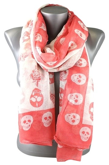 Other Skull Print Orange Coral Fashion Scarf