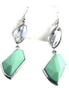 New JH Turquoise Colored Silver Tone Dangle Earrings J1759