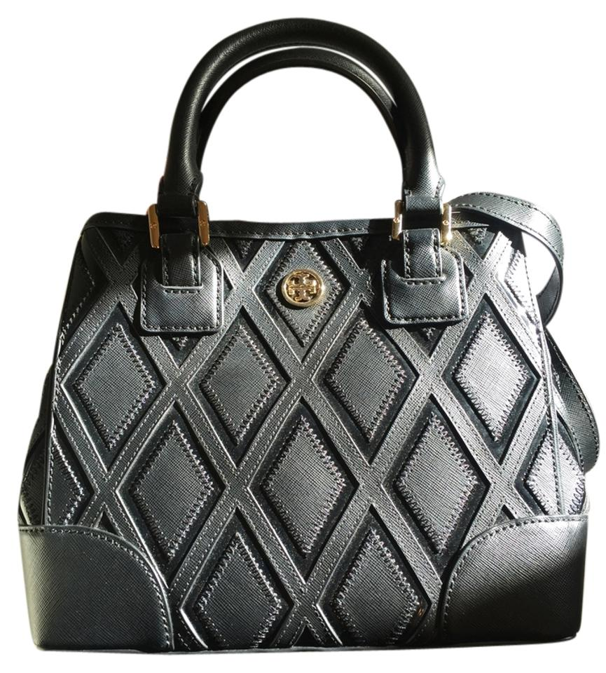a4e944ba2bc Tory Burch Robinson Patchwork Mini Square Black Leather Tote - Tradesy