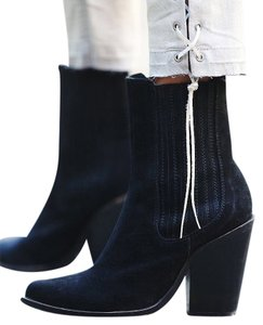 Jeffrey Campbell Sz 37 Black Suede Distressed Bromley Point Boots