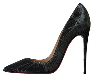 Christian Louboutin So Kate 120 Silver Pigalle Follies So Kate Black Pumps