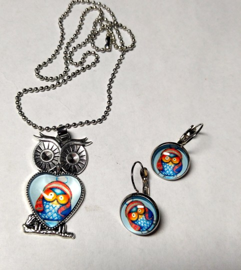 Other Owl Pendant Necklace French Hook Cabochon Earrings Silver Tone J1763