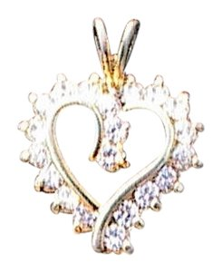 Other Sterling Silver Heart CZ Pendant (#177)