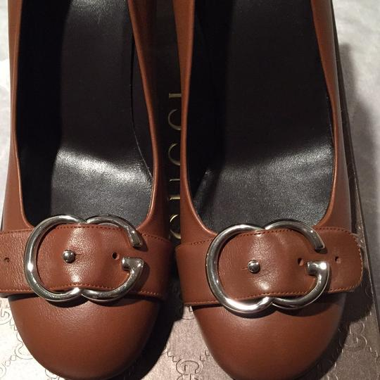 Gucci Black Leather Tory Burch Christian Louboutin Chanel Peep Toe Mary Jane Round Almond Brown Pumps