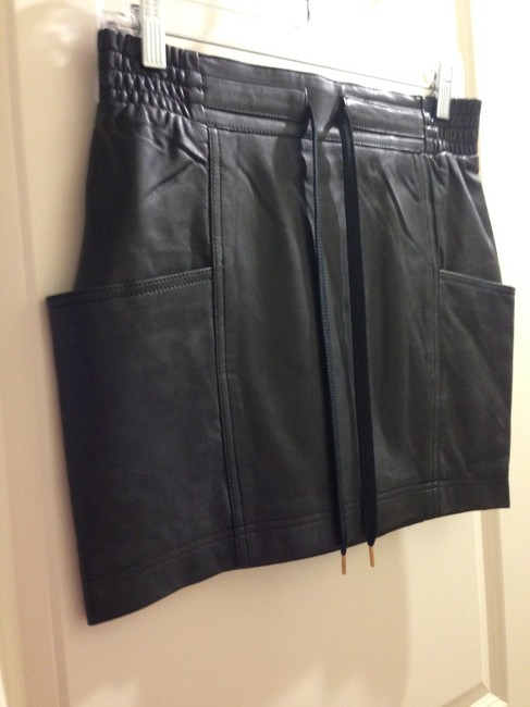 Marc by Marc Jacobs Size 2 Mini Skirt Black Leather