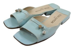 Louis Vuitton Patent Leather Vernis Charms Sandals Baby Blue Mules