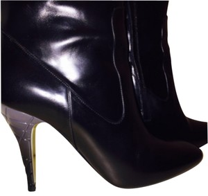 Burberry Leather Knee High Side Zipper Black Boots
