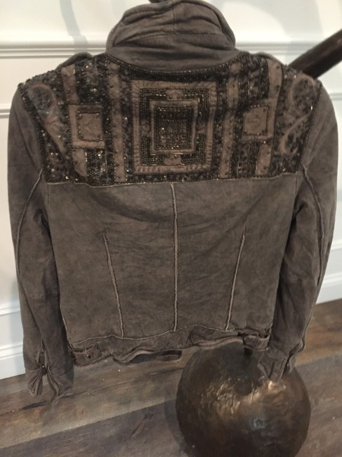 Muubaa Vintage Looking Beaded On Back Muted 100%leather With Tags Gray Leather Jacket