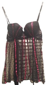 Victoria's Secret short dress Sexy Little Things Camisole Thong Lace Satin 36c Sheer Black Pink Pushup Sexy Nightie Bows Open Back on Tradesy