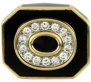 David Webb David Webb Black Enamel Diamond Gold Ring
