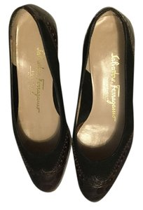 Salvatore Ferragamo Suede Made Italy $20 OFF Brown & black embossed all leather lizard pattern Italian Flats