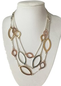 Nine West New Nine West Multi Color Necklace Gold Silver and Copper Three Strand Necklace