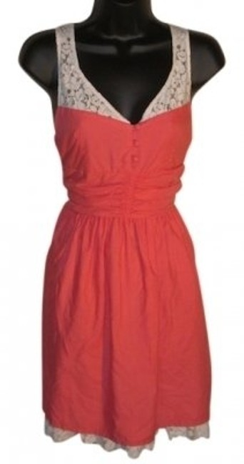 Item - Coral Babydoll/Dress with White Trim Detail Above Knee Short Casual Dress Size 12 (L)