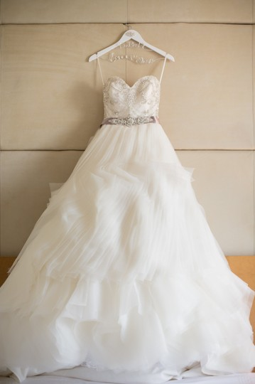 Lazaro Ivory Organza 3153 Wedding Dress Size 2 (XS)
