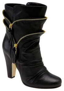 Dolce Cabo Leather Rocker Black with Gold Zippers Boots