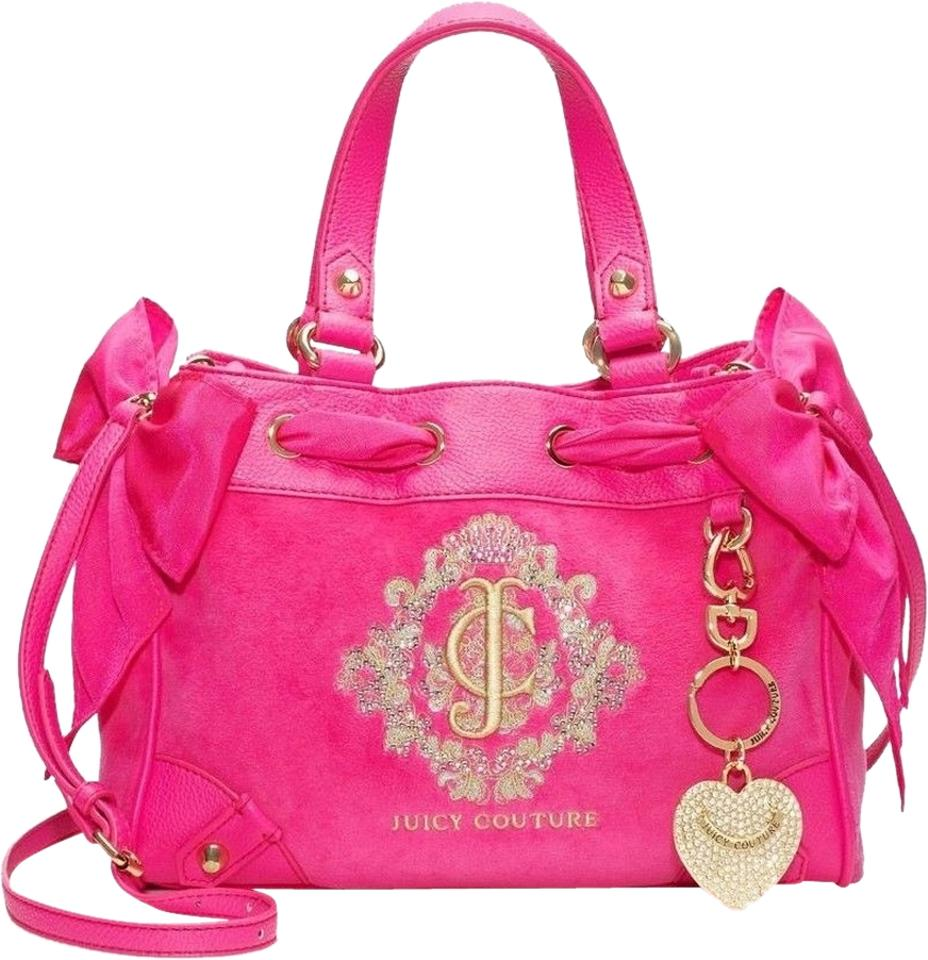 58cb37f40168 Juicy Couture Velour Daydreamer Leather Crossbody Shoulder Satchel in Pink  Image 0 ...