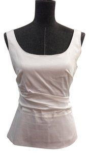 Elie Tahari Scoop Neck Side Zip Cotton Top White