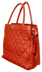 Chanel Vintage Calfskin Leather Tote in Red Orange