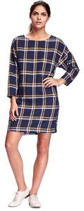 Old Navy short dress Navy and Gold Plaid on Tradesy