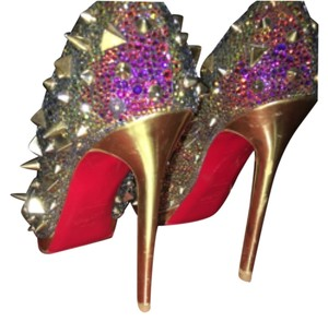 Christian Louboutin Volcano strass and gold Pumps