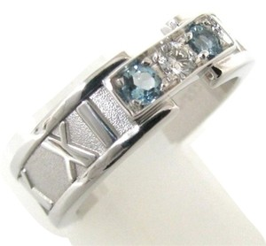 Tiffany & Co. 18k white Gold Atlas 3 Open White Diamond And Aquamarine