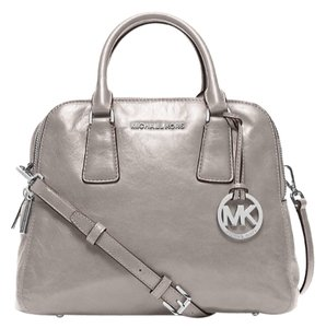 Michael Kors Alexis Silver Leather Satchel in Grey