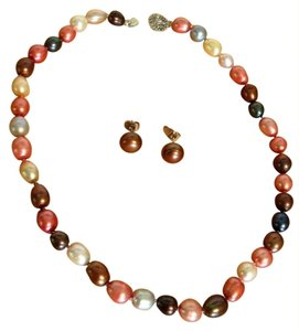 Brown, Pink, Peach, White Cultured Pearl Necklace and Earring Set