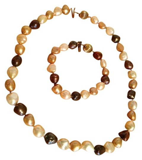 Other Brown, Beige, Cream, White Cultured Baroque Pearl Necklace and Bracelet Set