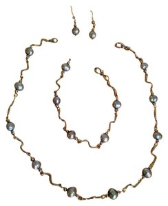 Silver Cultured Pearl Necklace, Bracelet and Earrings Set