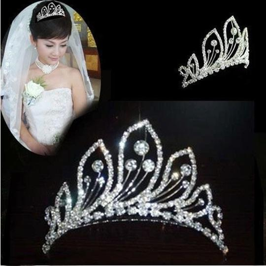 White Stunning Fashion Rhinestone Peacock Pattern Crown Comb Pin Tiara Hair Accessory