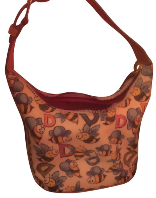 Item - And Bee Collection White Blue Yellow Light Brown Leather Shoulder Bag