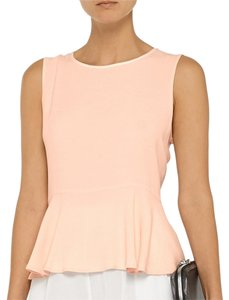 Sandro Sleeveless Peplum Pink Pastel Crepe Satin Drape Draped Gold Hardware Salmon Peach French Girly Pretty Top Pastel Pink