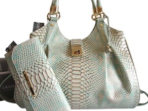 Brahmin Snake Emboss Leather Hobo Bag