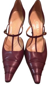 Chanel T-strap Burgundy Pumps