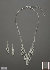 David's Bridal Silver Crystal Leaf Design Necklace and Earring Jewelry Set