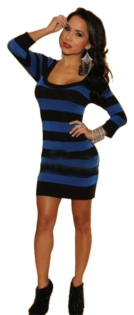 Preload https://img-static.tradesy.com/item/10275952/hot-miami-styles-blue-and-black-cotton-sweater-dress-tunic-size-4-s-0-1-650-650.jpg