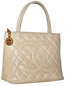 Chanel Paris Made In France Guaranteed Handbag Hand Tote Carryall Carry All High End Chic European Designer Luxury Pre Satchel in Beige