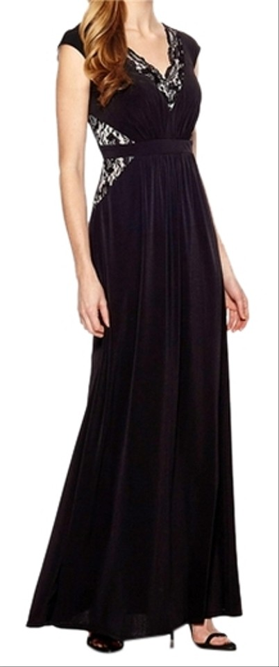 9905139d75c JAX Black Cap Sleeve (With Lace Detail) Evening Gown Long Formal ...
