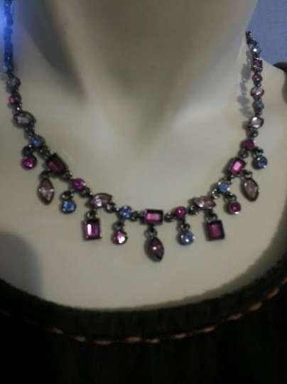 AK Anne Klein Multi color crystal necklace