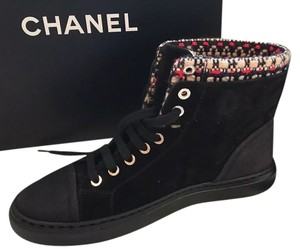 Chanel Suede High Top Lace Up Black Athletic
