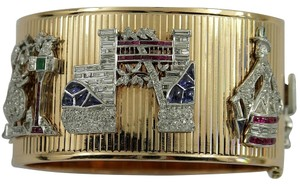 Other Mid-Century Gold Cuff Bracelet with Art Deco Charms
