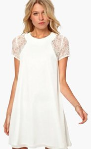 Love Culture Lace Short Sleeve Slit Mini Wedding Bridal Dress