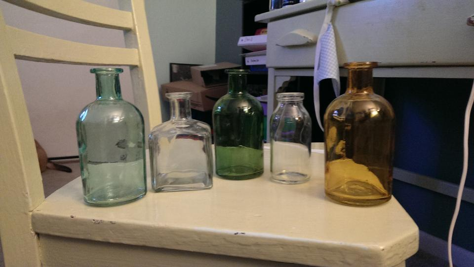 Clear Amber Green And Aqua Multi Colored Medicine Bottle Bud Vases